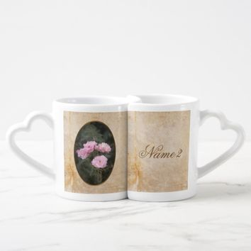 Vintage design. Photo of pink roses. Add your text Coffee Mug Set
