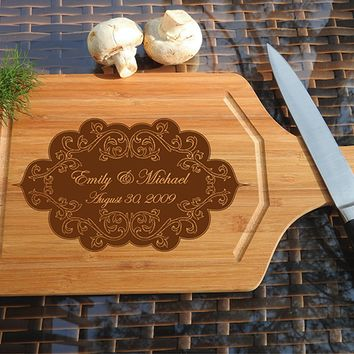 ikb483 Personalized Cutting Board Wood wedding gift anniversary date names wooden wedding