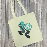 Mermaid Monogram - Initial // Glitter Tote Bag