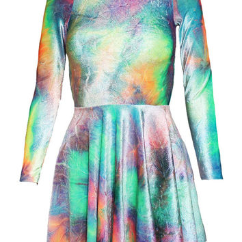 Rainbow Tie Dye Velvet Skater Dress - Long Sleeve