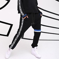 Personality Multicolor Letter Webbing High Waist Slim-fit Pants Women Leisure Pants Trousers Sweatpants