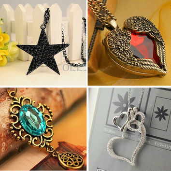 High Quality Fashion vintage jewelry accessories bohemia long design retro gem rhinestone butterfly  necklace pendant for women