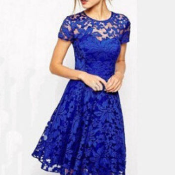 Hot Sale Stylish Round-neck Short Sleeve Blue Lace One Piece Dress [6339009537]