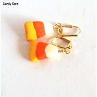 Candy Corn Earrings, Halloween Jewelry, Handmade Earrings, Polymer Beads, Fashion Jewelry, Novelty Earrings - Blue Morning Expressions