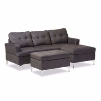 Riley Grey Fabric Upholstered 3-Piece Sectional Sofa With Ottoman Set By Baxton Studio