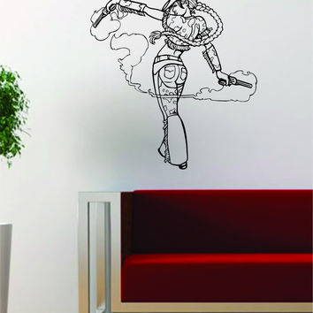 Cowgirl Pin Up Girl Design Cowboy Decal Sticker Wall Vinyl Art Decor Home