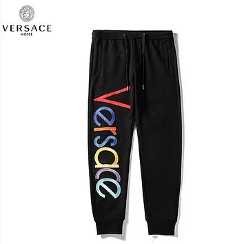 Versace Fashion New Embroidery Multicolor Letter High Quality Sports Leisure Women Men Pants Black
