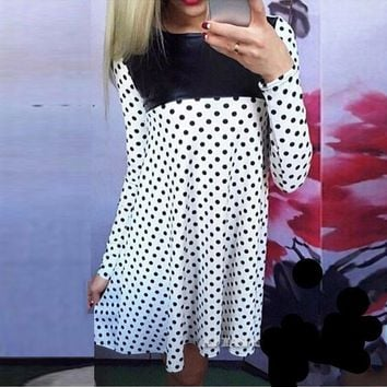 2017 Autumn Dresses Long Sleeve PU Leather Casual Loose Polka Dot Party Cocktail Mini Dress comes in white or black sizes M-XL