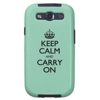 Keep Calm And Carry On Green Calcite Galaxy S3 Case