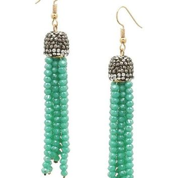 Stone Pave Cap Crystal Tassel Earring, Turquoise