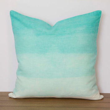 "Blue Pillow Cover- 16""x16"" Aqua Blue Decorative Throw Pillow Cover, Aqua and Turquoise Dip Dye, Water Theme"