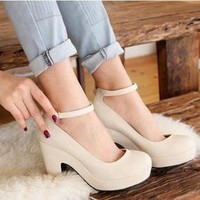 Color rough with high heels, women's singles shoes beige