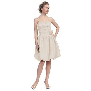 Ivory Bubble Dress Knee Length Empire Flower Spaghetti Strap