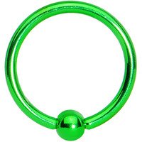 "16 Gauge Light Green Titanium Captive Ring 3/8"" 3mm 