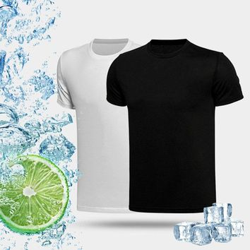 T Shirt Men 2018 Cotton Summer Quick-drying Cooling T-shirt Sports Running Breathable Waterproof Shirt UV testing Clothing S-3XL