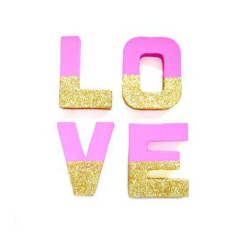 Pink & Gold Glitter Love Letters   Glitter Letters Custom Ornament Letters Wedding Decor Freestanding Letters Paper Mache Letters