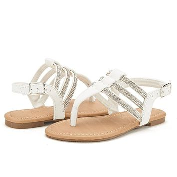 ESTELLE-K Girls Casual Strappy Rhinestones Bucklet Strap Thong Flat Summer Sandals (Toddler/Little Kid/Big Kid)