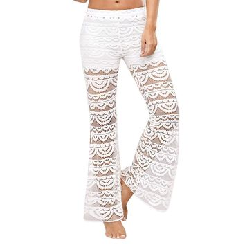 Women Lace Bell Bottoms Flare Trousers Mid Waisted Wide Leg Long Yoga Pants