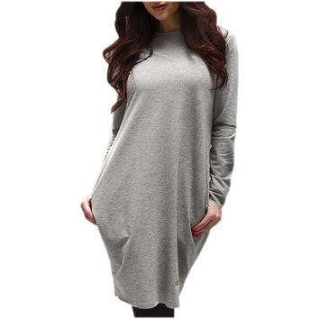 4 colors Winter Autumn Women Dress Solid Elegant Dresses Casual Cotton warm Vestidos Sexy Long Sleeve with Pockets LX063