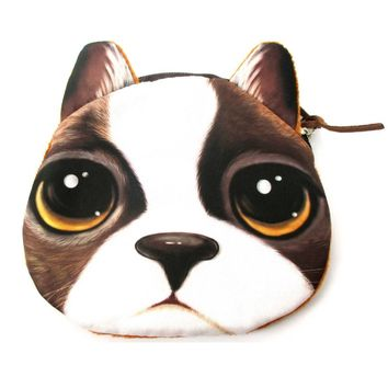 French Bulldog With Puppy Eyes Face Shaped Soft Fabric Zipper Coin Purse Make Up Bag