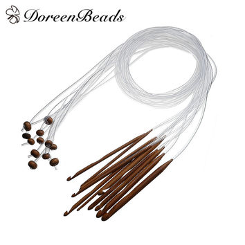 "DoreenBeads Bamboo Flexible Afghan Tunisian Carpet Crochet Hooks Needles At Random Transparent 119.5cm(47"") 1 Set(12 PCs Set)"