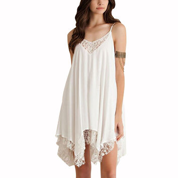 Casual Women Girl Lace Sleeveless Short Dress Beach Club Mini White Latest Dress