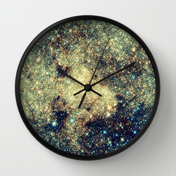 Astral Glitter Milky Way Wall Clock by 2sweet4words Designs   Society6