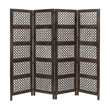 Circle By Circle Wood Room Divider 4 Panel