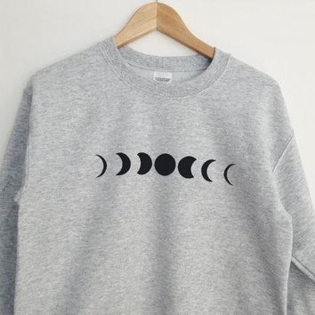 new arrival Unisex women mens sweatshirt high quality jumper hoodies Moon Phase Printed Grey Crewneck Sweatshirt Cozy Jumper