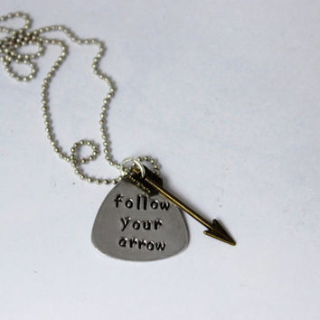 quote necklace, follow your arrow w/arrow charm, graduation gift, inspirational, quote jewelry, bridesmaid gift, arrow, custom necklace