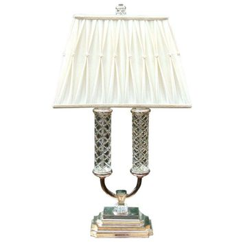 Pre-owned Stiffel Fratelli Crystal Glass Silver Brass Lamp
