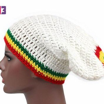 Fashion Unisex Rasta Hat Winter Warm Handmade Knitted Crochet Hats Jamaican Beanie Caps Hip Hop Cap Bob Marley Rasta Reggae Hats