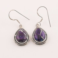 Purple Copper Turquoise Sterling Silver Earrings- keja jewelry
