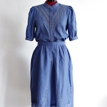 50s RICHE ROBE Embroidered Women Suit Skirt Blouse Violet French Chic