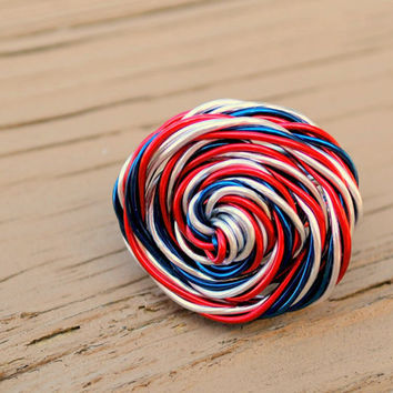 Wire Wrapped Ring Patriotic Red White Blue by KissMeKrafty on Etsy