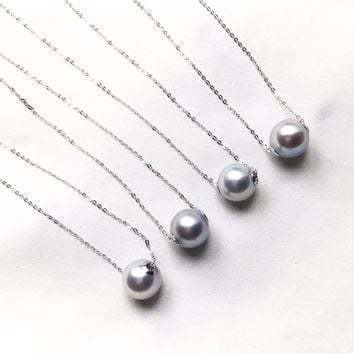 8.5-9mm Single Akoya Pearl Lucky Necklace w/ 18k White Gold Chain - AAA