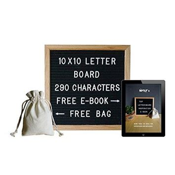 10x10 Inch Changeable Letter Board with 290 Letters & Inspiration E-BOOK - Black Felt and Oak Wooden Frame - Decorative Sign for Expressions & Messages - Including Letter Canvas Bag