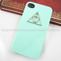 Green iphone 4 case,Harry Potter Deathly Hallows iphone 4 4g 4s case,hard cover skin case for iphone 4/4g/4s case