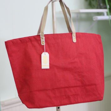 Solid Jute Tote Bag {Red}