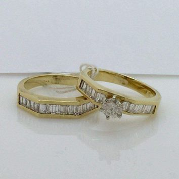 Luxinelle 1.45 Carat Baguette Stones Diamond Bridal Engagement Ring and Wedding Band 14K Yellow Gold by Luxinelle® Jewelry