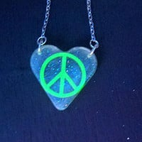 Glowing Green Peace Heart Necklace