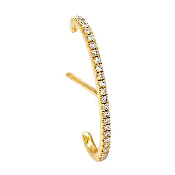 Diamond Pavé Hook Stud Earring 14K
