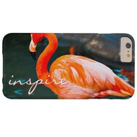 """""""Inspire"""" Quote Cute, Pink Orange Flamingo Photo Barely There iPhone 6 Plus Case"""