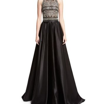 Naeem Khan Beaded Racerback Ball Gown, Black/Silver