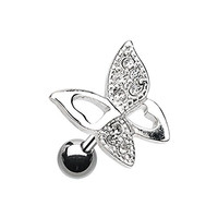 Sparkle Butterfly Stainless Steel Cartilage Tragus Earring