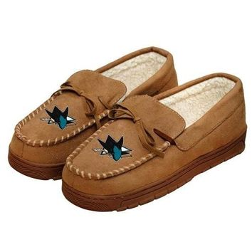 NHL San Jose Sharks Moccasin Slipper Tan