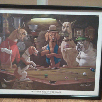 Vintage Dogs Playing Pool Framed Print
