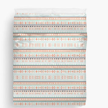 Mint & Coral Tribal Duvet Cover, Available in Twin, Queen, and King