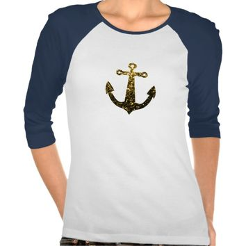 Beautiful Yellow Gold sparkles Anchor shirt by PLdesign