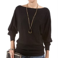 Black Glitter Dolman Top